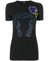 Versace Black Medusa Floral Embroidered T-shirt