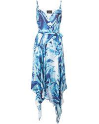 Nicole Miller プリント シルクドレス Blue