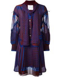 Sacai | Blue Multi-pattern Ruffled Dress | Lyst