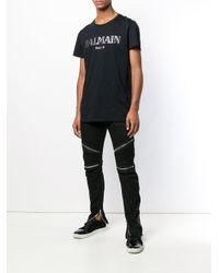 Jean slim à détails de zips Balmain pour homme en coloris Black