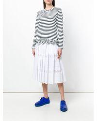 Comme des Garçons Blue Ruffle Hem Striped Top