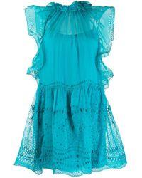 Alberta Ferretti アイレットレース ドレス Blue
