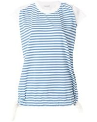 Moncler Blue Striped Short-sleeve Top
