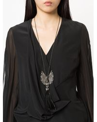 Lanvin - Metallic Swan Feather Charm Necklace - Lyst