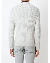 Loro Piana Gray Cable Knit Sweater for men