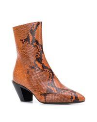A.F.Vandevorst Brown Snakeskin Ankle Boots