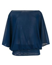 Fisico Blue Boat Neck Sheer Blouse
