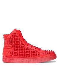 Philipp Plein Red Studded Hi-top Sneakers for men