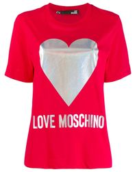 Love Moschino Red T-Shirt mit Logo-Print