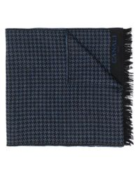 Canali Blue Houndstooth Pattern Scarf for men