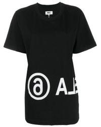 T-Shirt Nera Stampa Margiela6 di MM6 by Maison Martin Margiela in Black