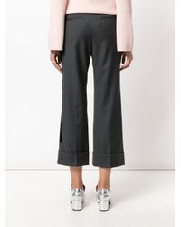 N°21 - Gray Tailored Cropped Bootcut Trousers - Lyst