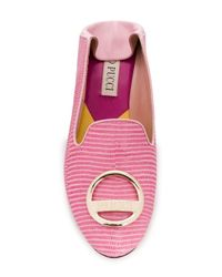 Emilio Pucci Pink Lizard Effect Logo Loafers