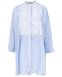 Martha Medeiros - Blue Lace Insert Shirt Dress - Lyst