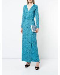 Diane von Furstenberg Blue Woven Stripe Clutch Bag