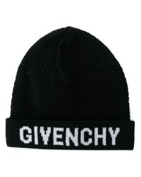 c1b96a509ba Givenchy Logo Patch Beanie Hat in Black for Men - Lyst