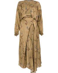 Preen By Thornton Bregazzi Brown Floral Print Maxi Dress