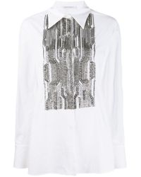 Chemise à plastron à ornements Alberta Ferretti en coloris White
