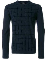 Giorgio Armani   Blue Checked Sweater for Men   Lyst