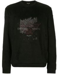 Sweat à détails brodés Emporio Armani pour homme en coloris Black
