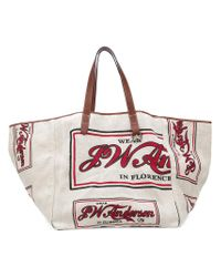 J.W. Anderson Red Oversized Slogan Tote Bag