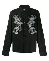Chemise à motifs brodés Stussy pour homme en coloris Black