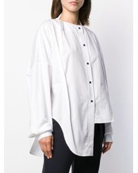 Chemise à design sans col Ji Oh en coloris White