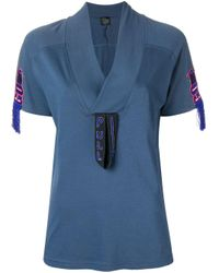Embroidered detail T-shirt Mr & Mrs Italy en coloris Blue