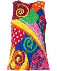 Manish Arora Multicolor Paillettentop im Patchwork-Look