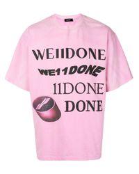 we11done Pink Logo Print T-shirt