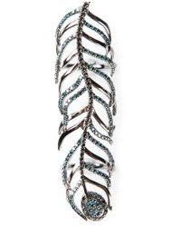 Nikos Koulis - Black Long Peacock Feather Ring - Lyst