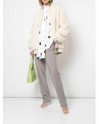 Tibi White Faux Fur Track Jacket