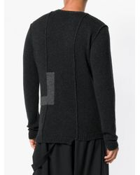 Isabel Benenato Black Notched Panelled Sweater for men