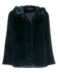 Tagliatore Blue Leopard Print Hooded Jacket
