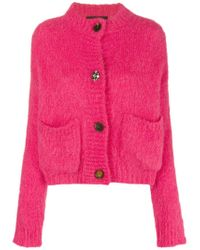 Erika Cavallini Semi Couture Pink Button Brushed Cardigan