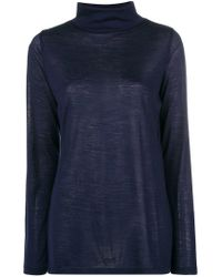 Allude Blue Roll Neck Top