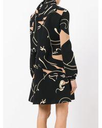 Valentino - Black Printed Funnel Neck Mini Dress - Lyst