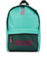 MSGM Green Rucksack mit Logo-Print