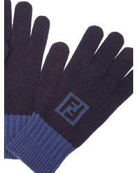Fendi Handschuhe mit Intarsien-Logo in Blue für Herren