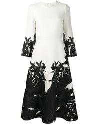 Valentino Black Orchid Ramage Print Dress