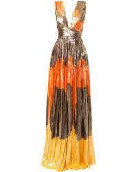 Dhela - Orange Metallic Printed Pleated Skirt Gown - Lyst
