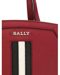 Bally Red Tote Bag With Stripe Trim