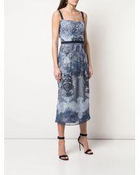 Платье Миди С Кружевной Вышивкой Marchesa notte, цвет: Blue