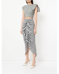Maticevski - Gray Cropped Plaid Top - Lyst