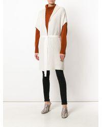 Agnona Natural Tie Waist Rib Knit Cardigan