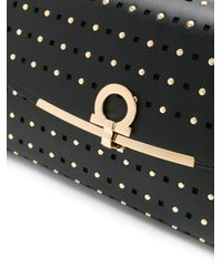 Ferragamo Black Studded Gancio Clasp Clutch