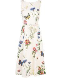 Vestido con motivo floral y cinturón Oscar de la Renta de color Multicolor