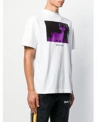 T-shirt Deer di Palm Angels in White da Uomo