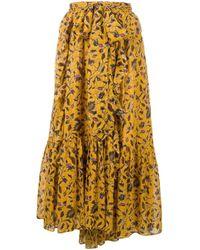 Ulla Johnson Yellow Floral Print Midi Skirt