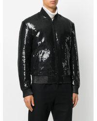 Saint Laurent Black Sequin Embroidered Bomber Jacket for men